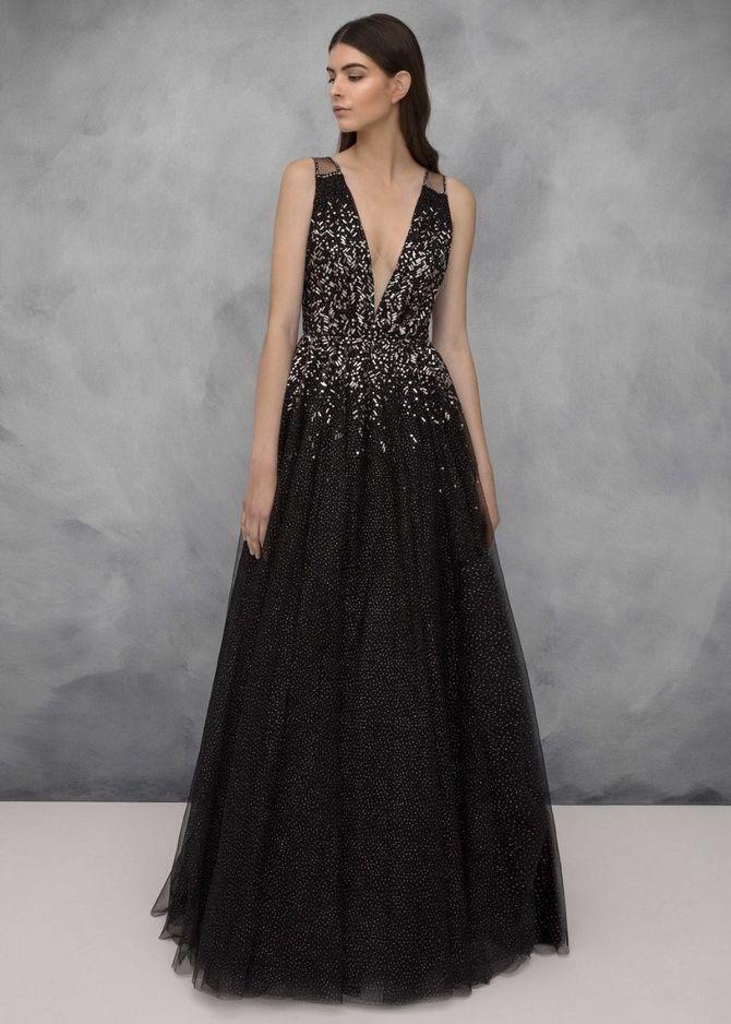 черное длинное платье 2020