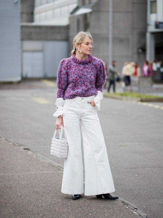 белые широкие джинсы