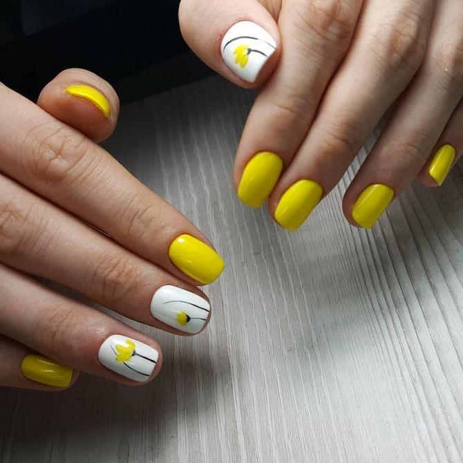 яркий  желтый  маникюр фото