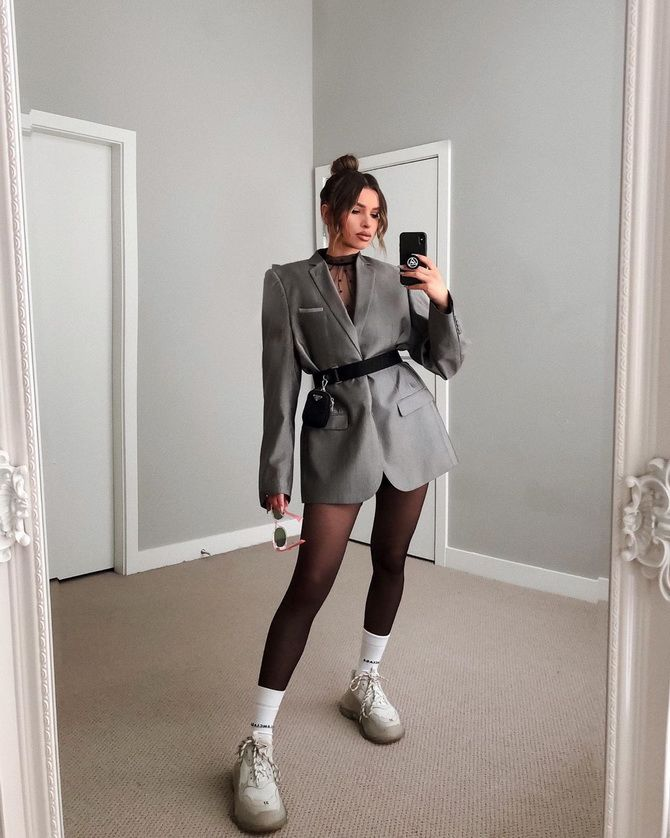 удлиненный пиджак женский с чем носить