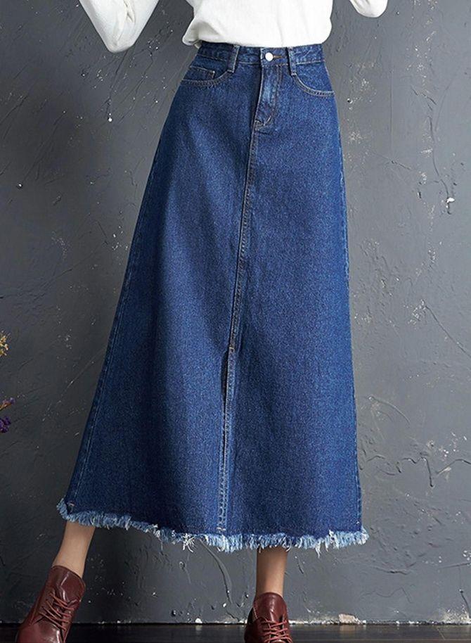 джинсовые юбки трапеция фото