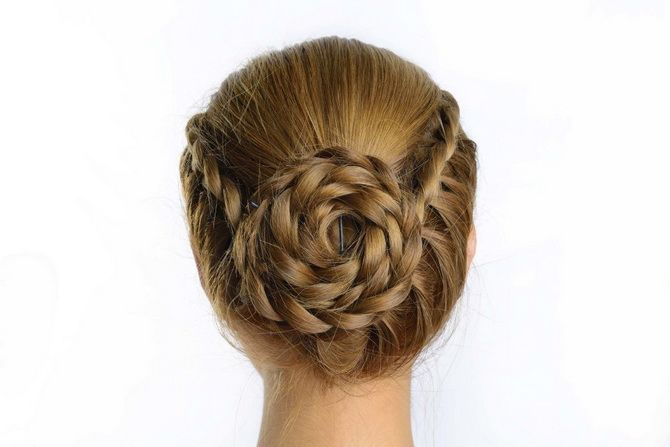 прически на волосы девочке выпускной