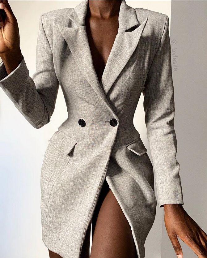 пиджак женский удлиненный в клетку