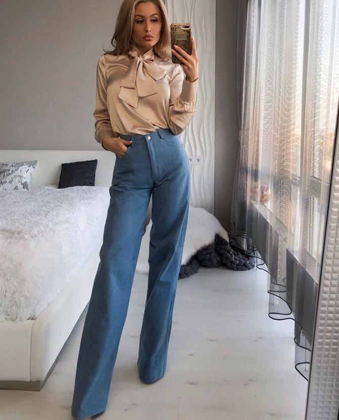 С чем носить широкие джинсы-трубы