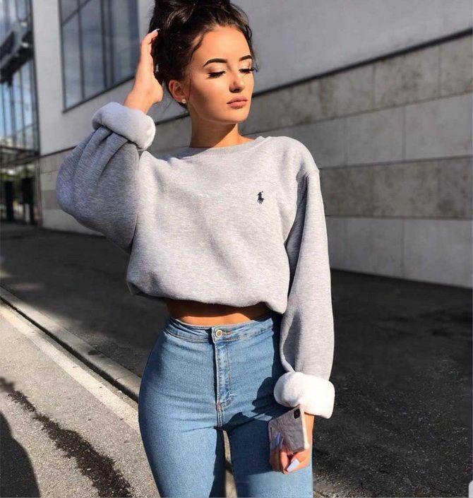 прямые джинсы с высокой