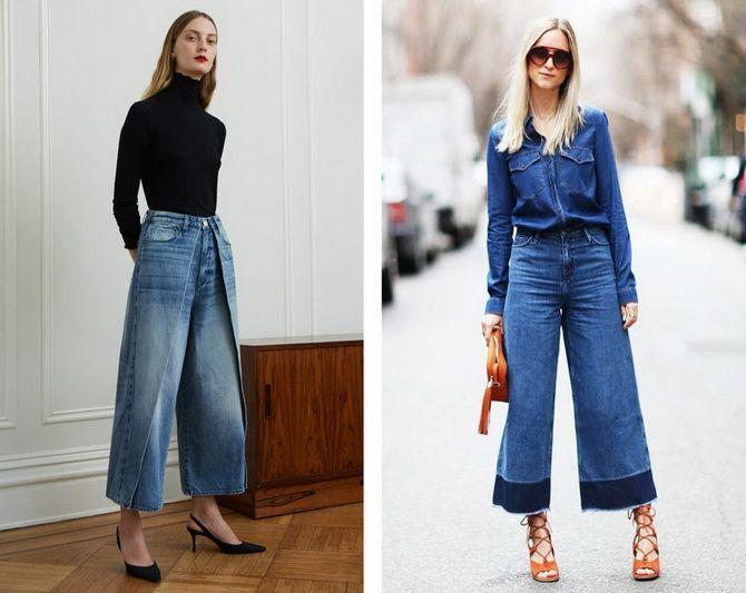 С чем носить широкие укороченные джинсы