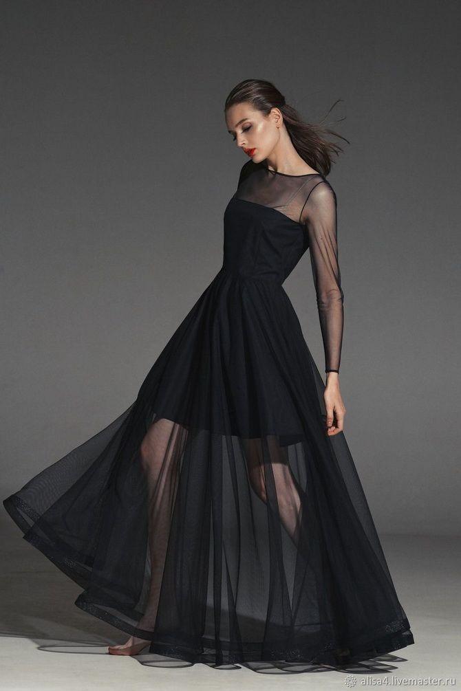 модель черного платья мини