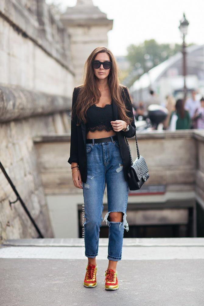 джинсы бойфренды с высокой талией