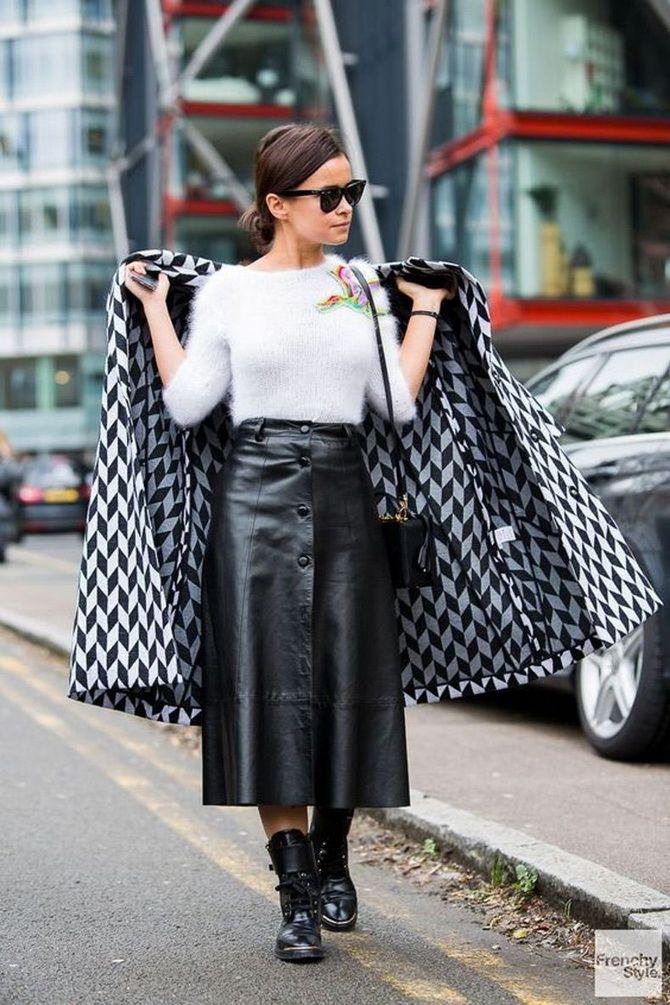 модные кожаные юбки