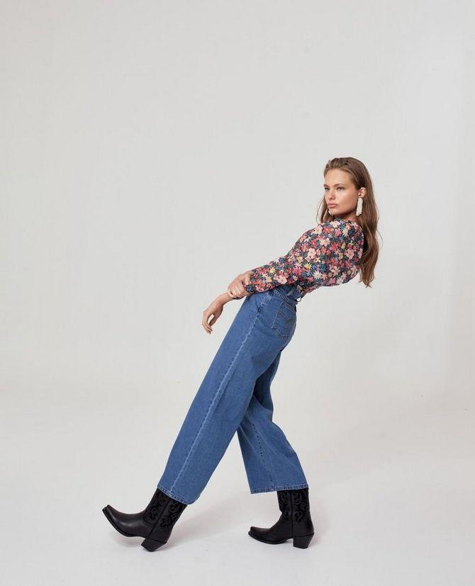 широкие джинсы с высокой талией женские