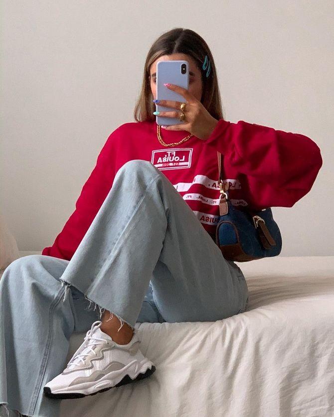 широкие зауженные джинсы