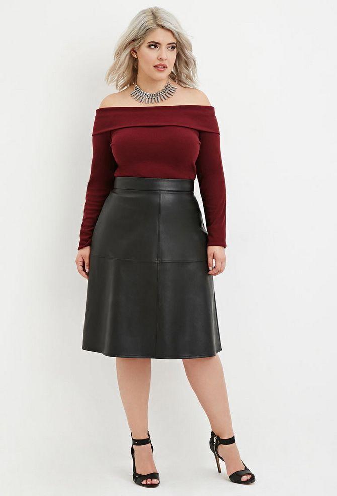 с чем носить черную кожаную юбку