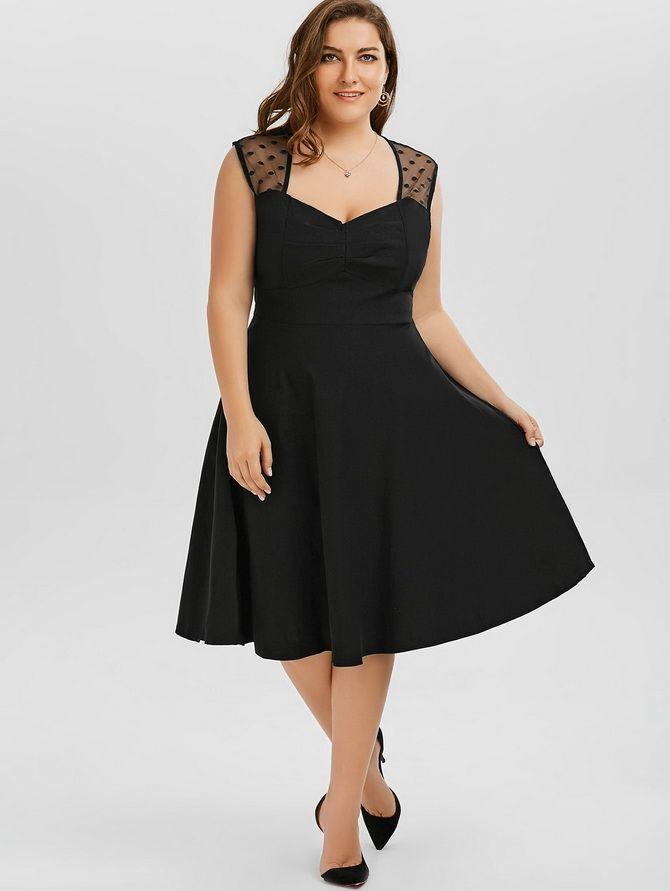 модели черных платьев для полных девушек