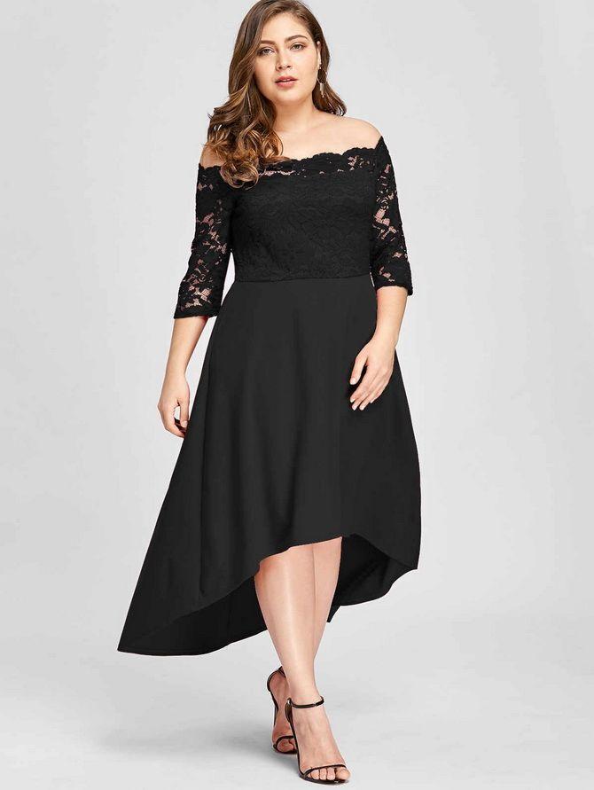черные платья для полных девушек