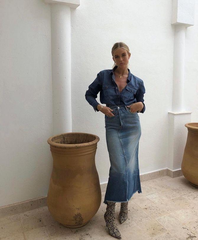 З чим носити джинсову спідницю міді