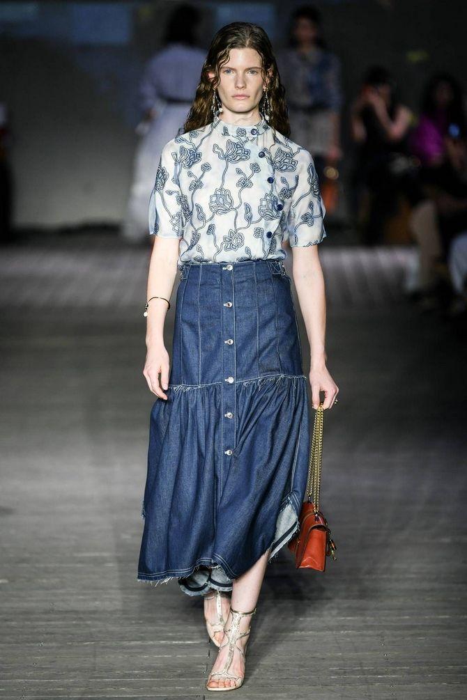 длинная юбка из денима