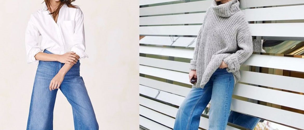 What to wear with wide jeans: a selection of the best ideas 2020