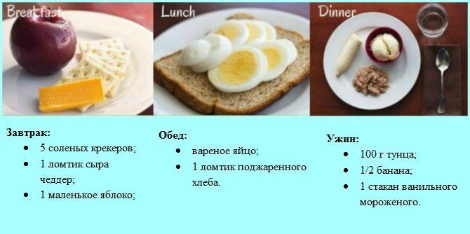 меню диета