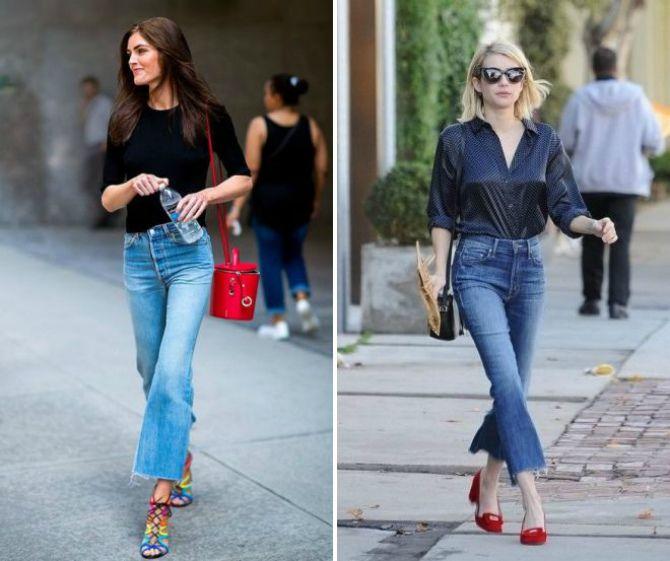 джинсы клеш укороченные
