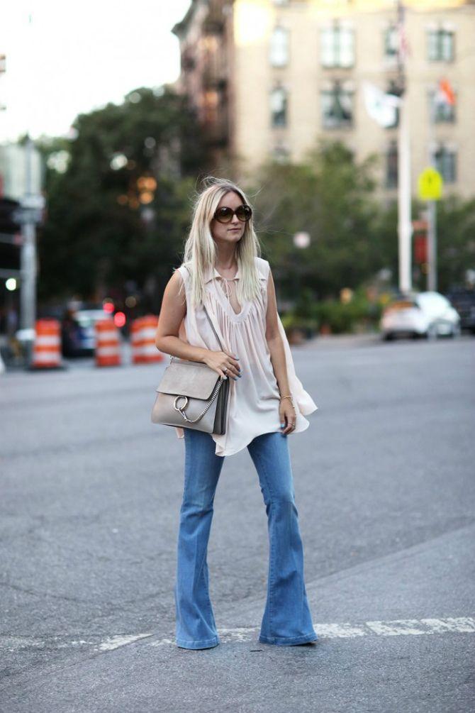 образы  с джинсами клеш