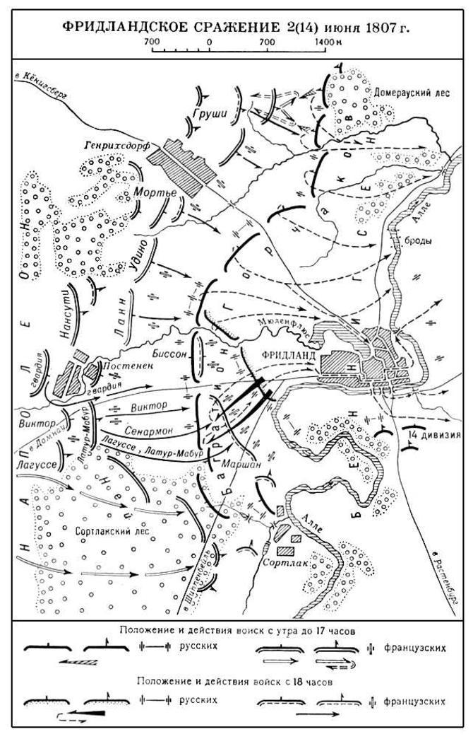 карта Битва під Фрідландом