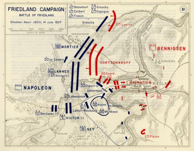 карта боев Беннигсен Наполеон