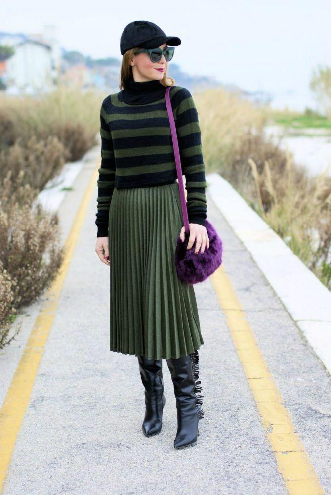 длинная плиссированная юбка