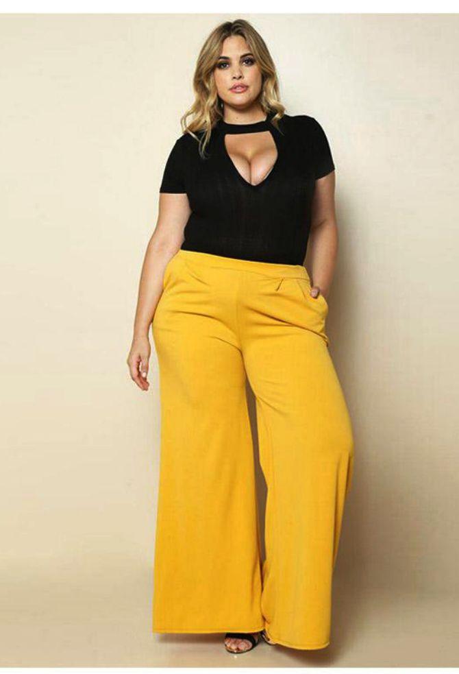 желтые брюки для полных женщин