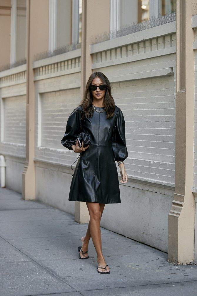 кожаное мини-платье