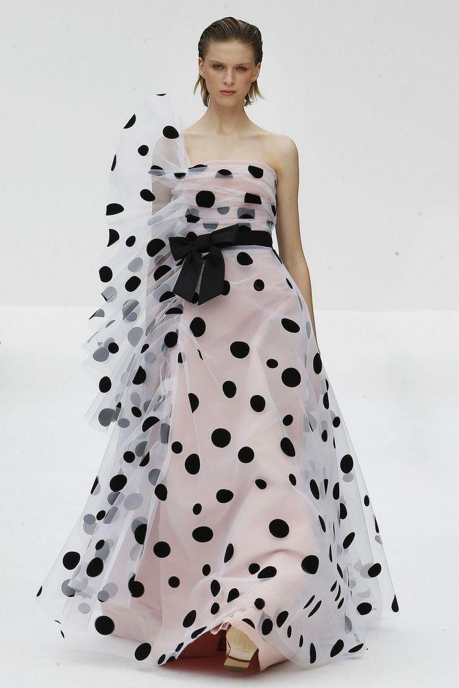 довга сукня в горошок