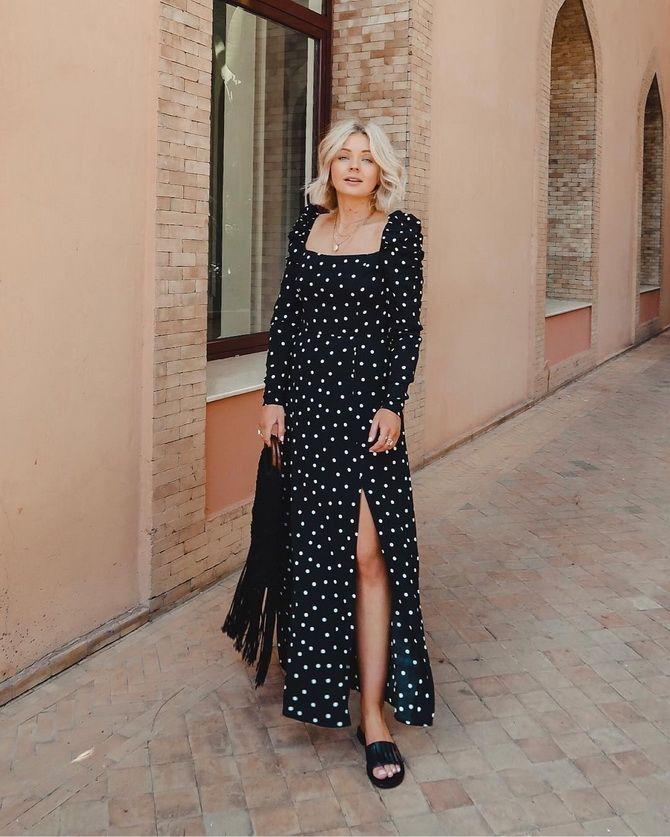 чорна довга сукня в горошок