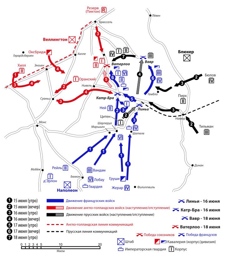 Битва при Ватерлоо карта