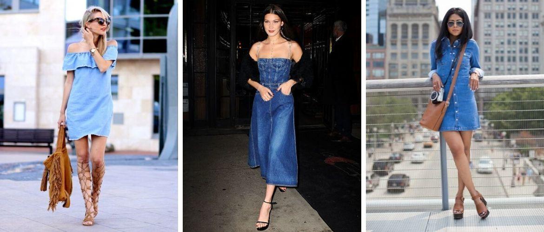 Новинки модных джинсовых платьев и сарафанов 2021-2022