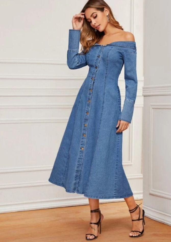 джинсовое платье обнаженные плечи