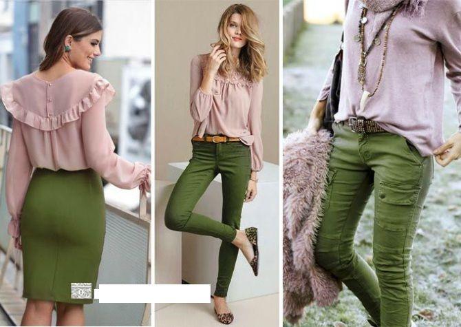 сочетание цвета хаки в одежде