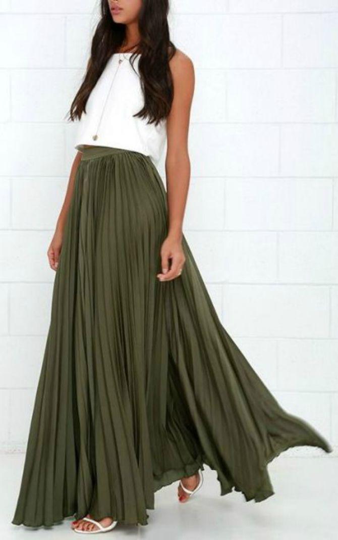 плиссированная юбка хаки