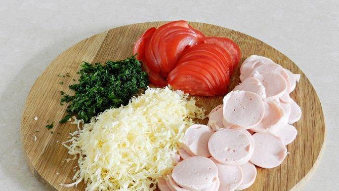 рецепт лаваша с колбасой и помидором