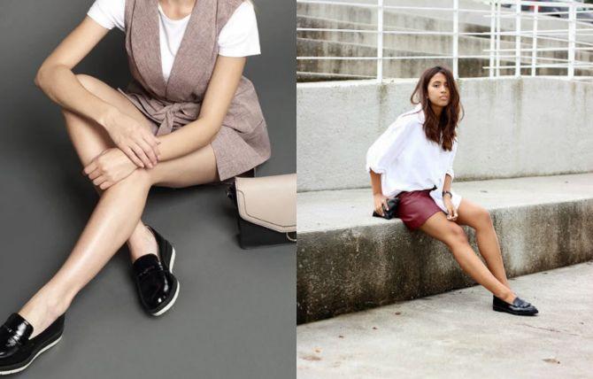 с чем носить лоферы женские без каблука