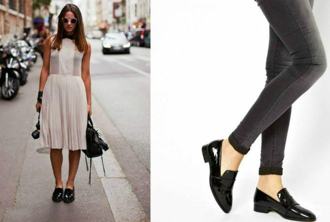 черные лоферы женские с чем носить