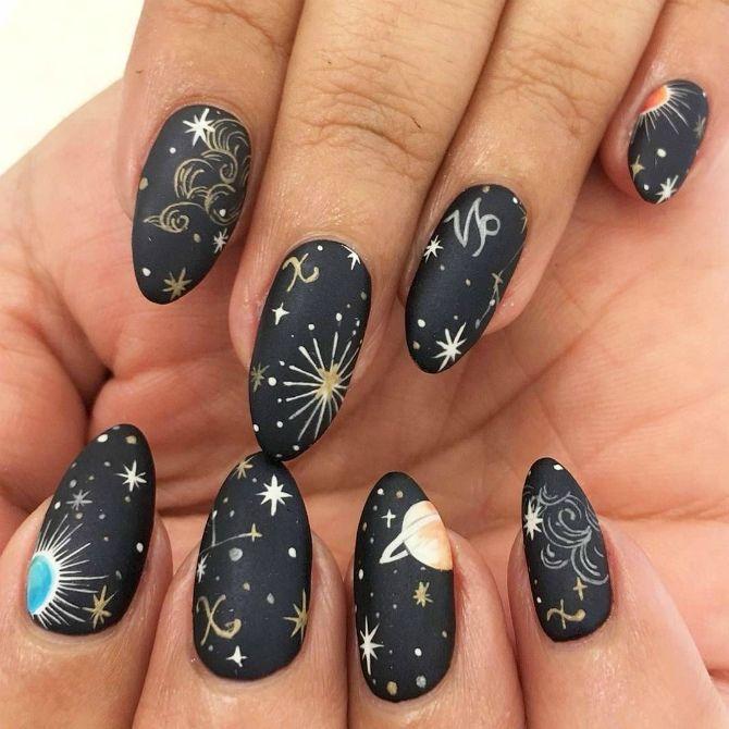 сірий манікюр на довгі нігті