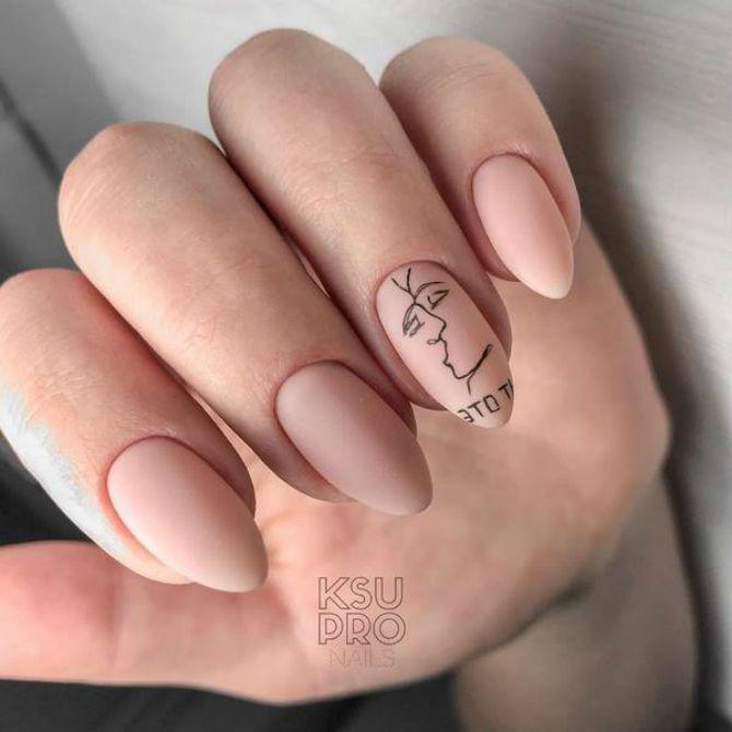 матовий рожевий манікюр на довгі нігті