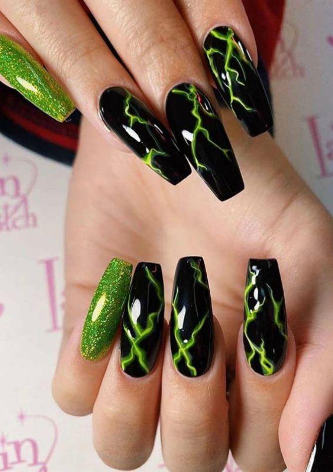 зелений манікюр на довгі нігт