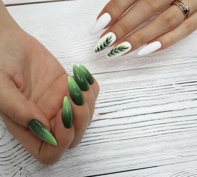зелений манікюр на довгі нігті