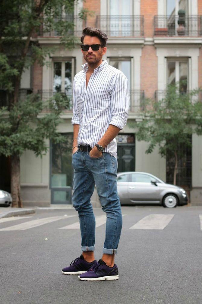 джинсы с отворотом фото