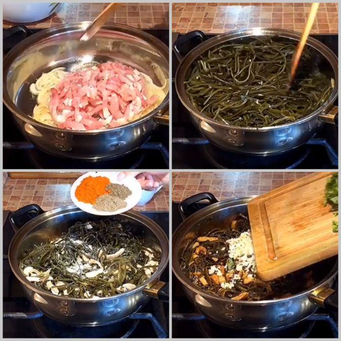 Салат з морською капустою та курячим м'ясом ⠀