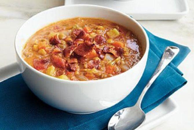 суп с беконом и картофелем