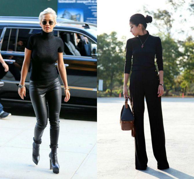 черная водолазка черные брюки