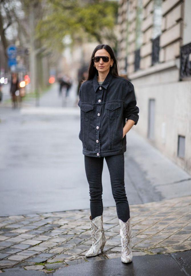 як носити чорну джинсову куртку