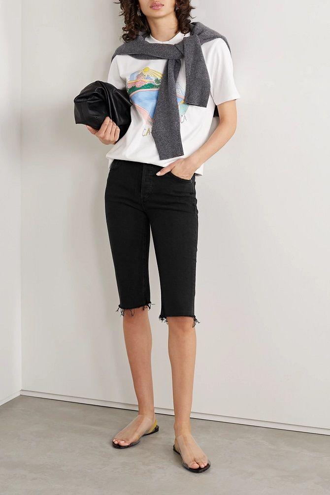 черные джинсовые бермуды женские