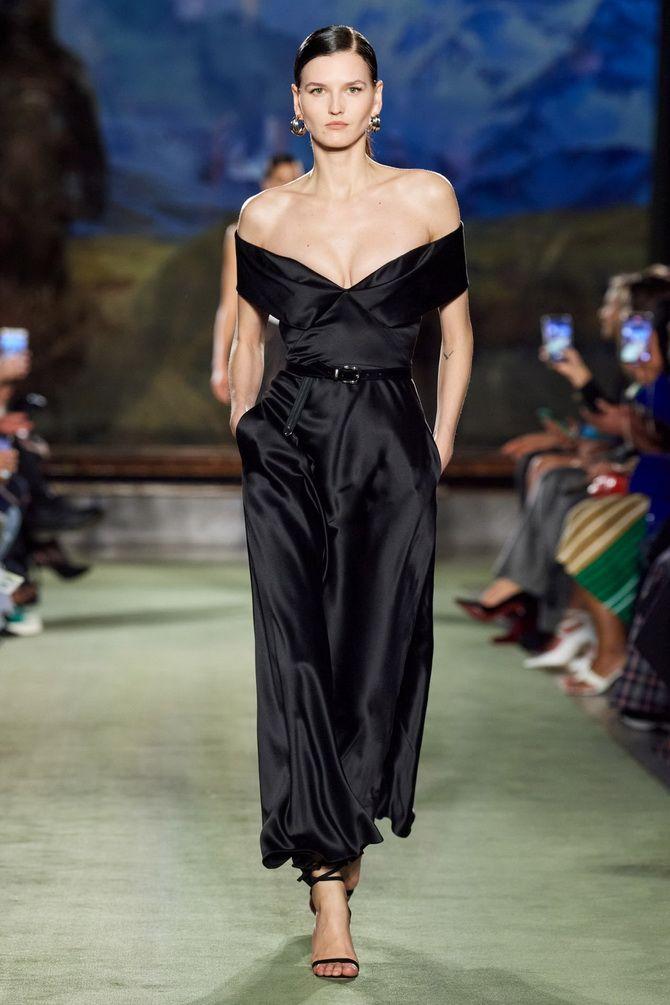 Модные длинные платья черное